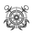 compass wind rose with anchors nautical emblem vector image
