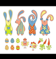 Cute cartoon rabbits vector image