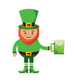 cute leprechaun holding cold beer drink vector image vector image
