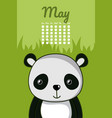 cute panda calendar cartoon vector image