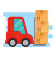 delivery forklift with carton boxes vector image