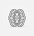 digital smart brain minimal concept outline vector image vector image