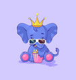 elephant calf chewing popcorn watching movie vector image