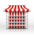 empty market stall kiosk with striped awning vector image vector image