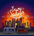 enjoy summer travel night travel concept vector image vector image