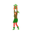 female elf in green and red vector image vector image