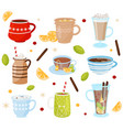flat set of mugs with tasty drinks vector image
