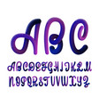 font set with letters glossy alphabet 3d render vector image