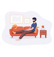 freelance man work from home comfortable space on vector image