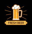 fresh beer promo logotype with full glass mug vector image vector image
