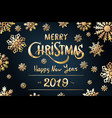 gold merry christmas greetings and happy new year vector image vector image