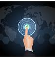 Hand Choose Button on virtual screen vector image vector image