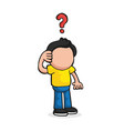 hand-drawn cartoon of confused man thinking with vector image