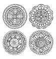 hand-drawn mandala set of isolated elements vector image vector image