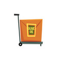 hand truck with cardboard box with label olive oil vector image vector image