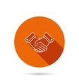 Handshake icon Deal agreement sign vector image vector image