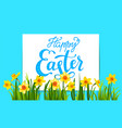 holiday easter elements on blue background vector image vector image