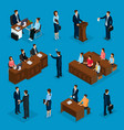 isometric lawyers collection vector image vector image