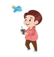 Little boy playing with radio control plane vector image