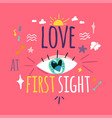 love at first sight greeting card layout vector image vector image