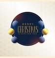 merry christmas card design with hanging vector image vector image