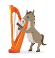 Musical animals horse harp vector image vector image