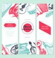 musical instruments - hand drawn template banner vector image vector image