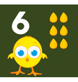 Number 6 - Chick with six grains of corn vector image
