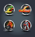 race car and motorbike set steely rounded badge vector image vector image
