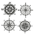 rose of wind compass retor icons vector image