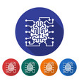 round icon of brain as central processing unit vector image