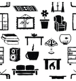 seamless doodle living room pattern vector image vector image