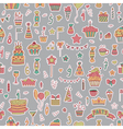 Seamless pattern with Birthday elements on grey vector image vector image