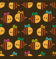 seamless pattern with cartoon bees for design vector image vector image
