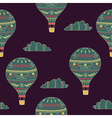 seamless pattern with hot air balloon and clouds vector image vector image
