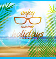 seaside view poster with sun glasses vector image vector image