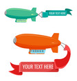 set blimps with advertising banners vector image vector image