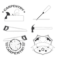 set of carpentry tools and logos vector image vector image