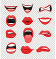 set of red woman lips mouth vector image