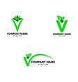 set people letter v with leaf logo design vector image vector image