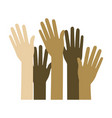 set several arms hands gesture on colorful vector image vector image