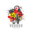 silhouette of voodoo doll with needles for vector image vector image