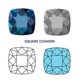 Square cushion gem vector image vector image