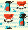 summer seamless pattern with palms and watermelons vector image vector image