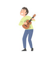 teen boy playing guitar talented child having fun vector image vector image