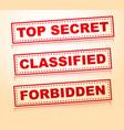 top secret classified forbidden rubberstamps vector image