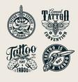 vintage tattoo studio logos vector image vector image
