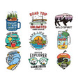 vintage travel logos vacation patches set hand vector image vector image