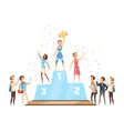 winners on podium composition vector image vector image