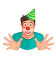 young fun man head clown vector image vector image